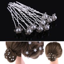 20pcs/pack Wedding Bridal Pearl Hairpins Flower Crystal Rhinestone Diamante Hair Clips Bridesmaid Women Hair Jewelry Accessories(China)