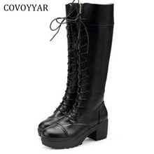 Fashion Women Knee High Boots 2018 Autumn Winter Thick Heel Martin Knight Riding Boots Black Lace Up Platform Women Shoes WBS223(China)