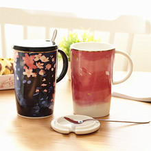 Japanese Style Sakura Ceramics Coffee Milk Water Mugs Sets with Spoon Lid 3 Pieces a Kits Drinking Cup Tea Mug Bottle Gifts