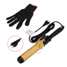 38mm Hair Curling Iron with Glove Ceramic Hair Curler Wand Roller Home Use Salon Professional Hair Styling Tool 110-240V EU Plug