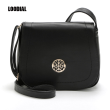 LOODIAL Vintage women crossbody bags solid soft fashion saddle bag messenger bags high quality bolsa feminina
