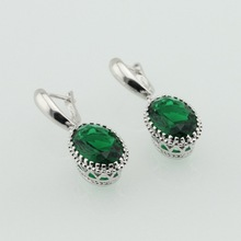 Silver Plated Drop Earring  Green Simulated Emerald  Jewelry  For Women Christmas Gifts Free Jewelry Box