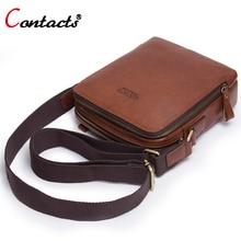 Contact's Genuine Leather Bag Men Shoulder Crossbody Bags Men Messenger Bag Men Leather Handbag Male Cross Body Bags Small