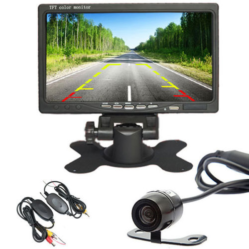 7 Inch Color TFT LCD Car Parking Assistance Monitors + Wireless Car Rear View Kit Backup Reversing Parking Camera<br><br>Aliexpress