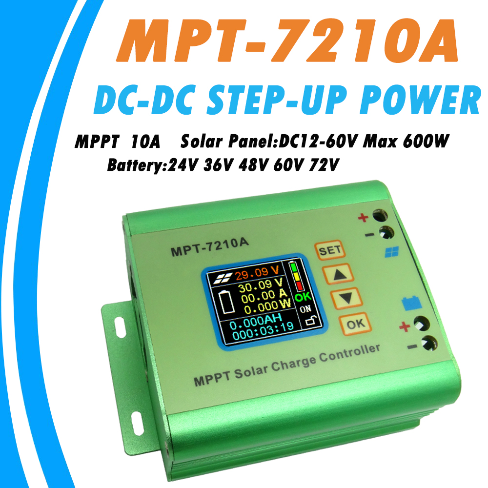 LCD MPPT 10A Solar Regulator Charge Controller for 24V 36V 48V 60V 72V Battery DC12-60V Max 600W Solar Panel DC-DC Step-Up Power<br>