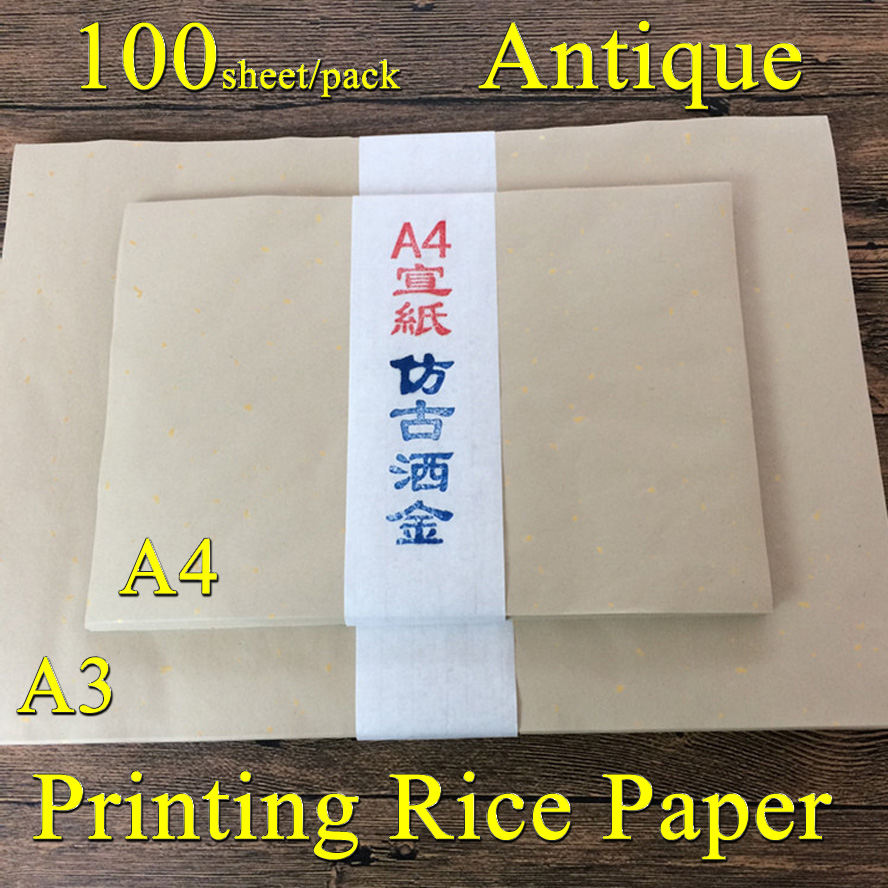 A3/A4 Antique Printing Rice Paper Chinese Painting Calligraphy Xuan Paper Painting Supply Canvas Stationary<br>