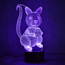 3D USB Visual Led Colorful Nightlights Table Lamp Creative Decor Gift Lampara Baby Sleeping Night Light Animal Squirrel Nut Lamp
