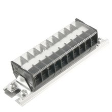 660V 15A DIN Rail Base Dual Row 10 Position Screw Terminal Barrier Strip
