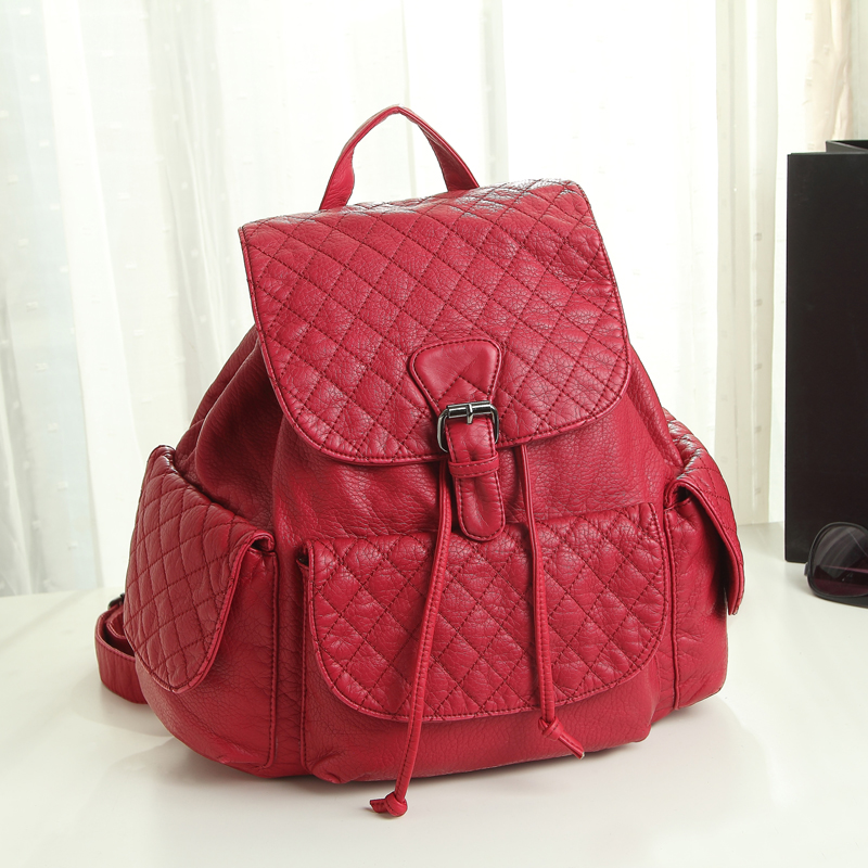 2015  Korea Style PU Leather Drawstring  Bag  Small Fashion Design Daily School Backpack  for Women<br><br>Aliexpress