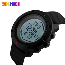 SKMEI Brand Compass Men Sports Watches 50m Waterproof Digital Outdoor Military Watch Men Countdown Alarm LED Wristwatches