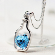 2016 New Design High Quality Lowest Price Women Necklace Fashion Popular Love Drift Bottles Blue Heart Crystal Pendant Necklace(China)