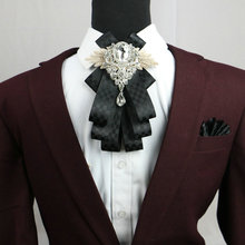 Brand 2017 New Design Gentleman Formal Business Wedding Party Collar Neck Wear Plaid Ribbon Cravat Fashion Groom Crystal Bow Tie(China)