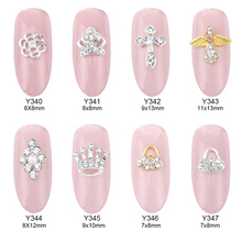 10pcs Crystal rhinestones nails accessories 3d jewelry nail nailart decoration crown flowers charms mochila Y340~347(China)