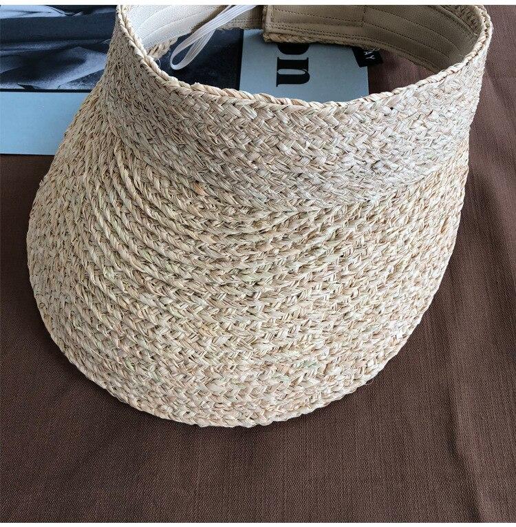 ladies uv roll up korean sun visor hat women sun visor straw sun visor caps (2)