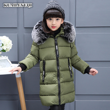 Kids Parkas Hooded Coat children's Winter jackets Warm Down cotton For Girl clothes Children Outerwear Thick Overcoat enfant(China)