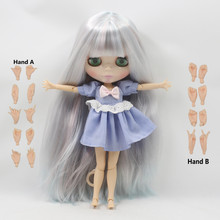 free shipping factory blyth doll long straight pink mix blue silver hair big breast joint doll 280BL6909/1010 1/6 bjd neo(China)