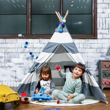 LoveTree Grey Stripe Portable Kids Cotton Canvas Teepee Indinan  Play Tent Playhouse toy tent