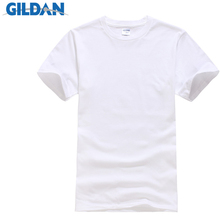 GILDAN Summer Men T-shirts Solid Color Slim Fit Short Sleeve T Shirt Mens New O-neck Tops Basic TShirts Brand Clothing Plus Size(China)