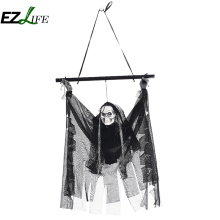 Halloween horror props haunted house bar ktv decoration ornaments shiny voice skull head small hanging ghost EZLIFE ZH01453