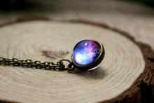 12pcs/lot Nebula necklace Planet jewelry Blue purple yellow pink galaxy jewelry Solar system necklace Glass dome necklace(China)