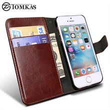 Wallet Leather Case for Apple iPhone 5S 5 SE Luxury Flip Coque Phone Bag Cover For iPhone 5s Cases Fundas TOMKAS Brand(China)