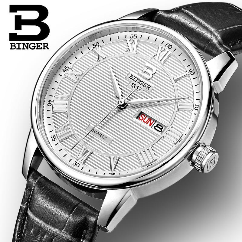 Switzerland mens watch luxury brand Wristwatches BINGER ultrathin Quartz watch leather strap Auto Date Waterproof B3037-1<br>