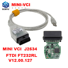 FOR TOYOTA V12.10.019 MINI VCI J2534 Diagnostic Cable TIS Techstream MINIVCI with FT232RL Chip OBD OBD2 Diagnostic Cable(China)