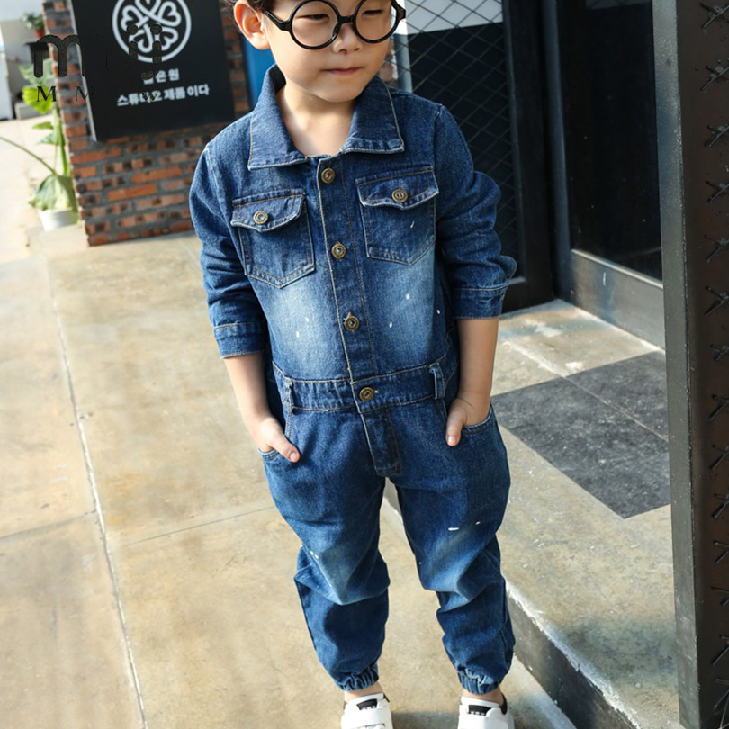MMIVE 2017 Childrens One Piece Set Cowboy Demin Baby Suit Casual Spring Summer Boy Girl One Piece Jacket Pants Baby Clothes Set<br>