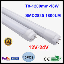 12V 24V T8 1.2M 4FT LED Tube Light 18W LED Lamp Light 2835SMD Lighting Cold White/Warm White LED Fluorescent Tube