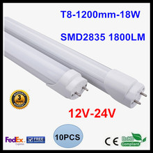 12V 24V T8 1.2M 4FT LED Tube Light 18W LED Lamp Light 2835SMD Lighting Cold White/Warm White LED Fluorescent Tube(China)