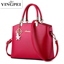 YINGPEI brand high quality women pu leather handbags medium tote bag black brand designer handbags ladies Red clutch bags(China)