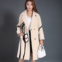 Women's Genuine Fur Coat Real Mink Fur Pocket Winter Warm Thick Long Jacket Top Outwear Female Natural Sheep Fur Shearing Coat
