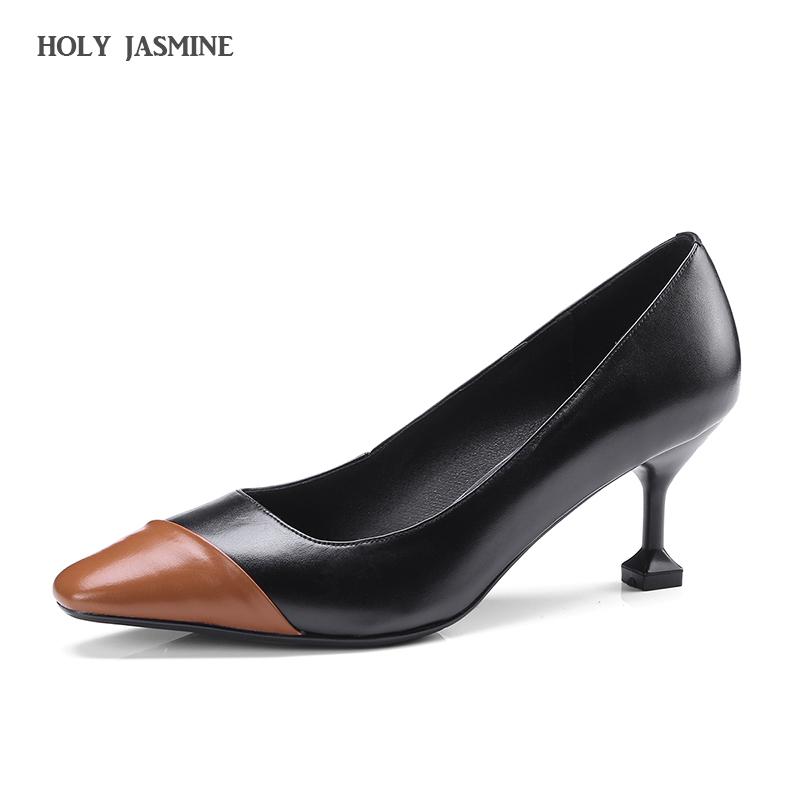 2018 Female Pointed Toe Sexy Slip On Party Wedding 6.5CM High Heels Ladies Black Pumps Womens Style Autumn Comfortable Shoes<br>