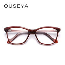 Acetate women optical frame fashion retro vintage clear lens myopia prescription RX transparent glasses frames #F1713(China)
