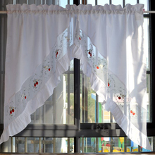 korean style lovely short cafe curtains decorative kitchen window curtains embroidery kitchen curtain designs new arrival 2 pcs(China)