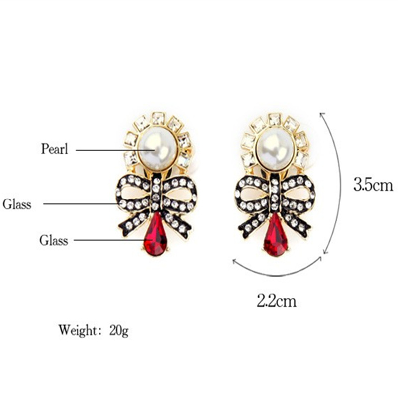 Charming No pierced Inlay Crystal Imitation Pearls Bowknot Clip Earrings Women Fashion Jewelry Factory Wholesale (3)