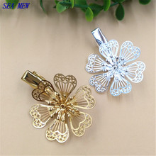 SEA MEW 32mm Fashion Hairgrips Flowers Hair Clip Setting Silver Gold Color Duck Clip DIY Jewelry Accessories For Women(China)