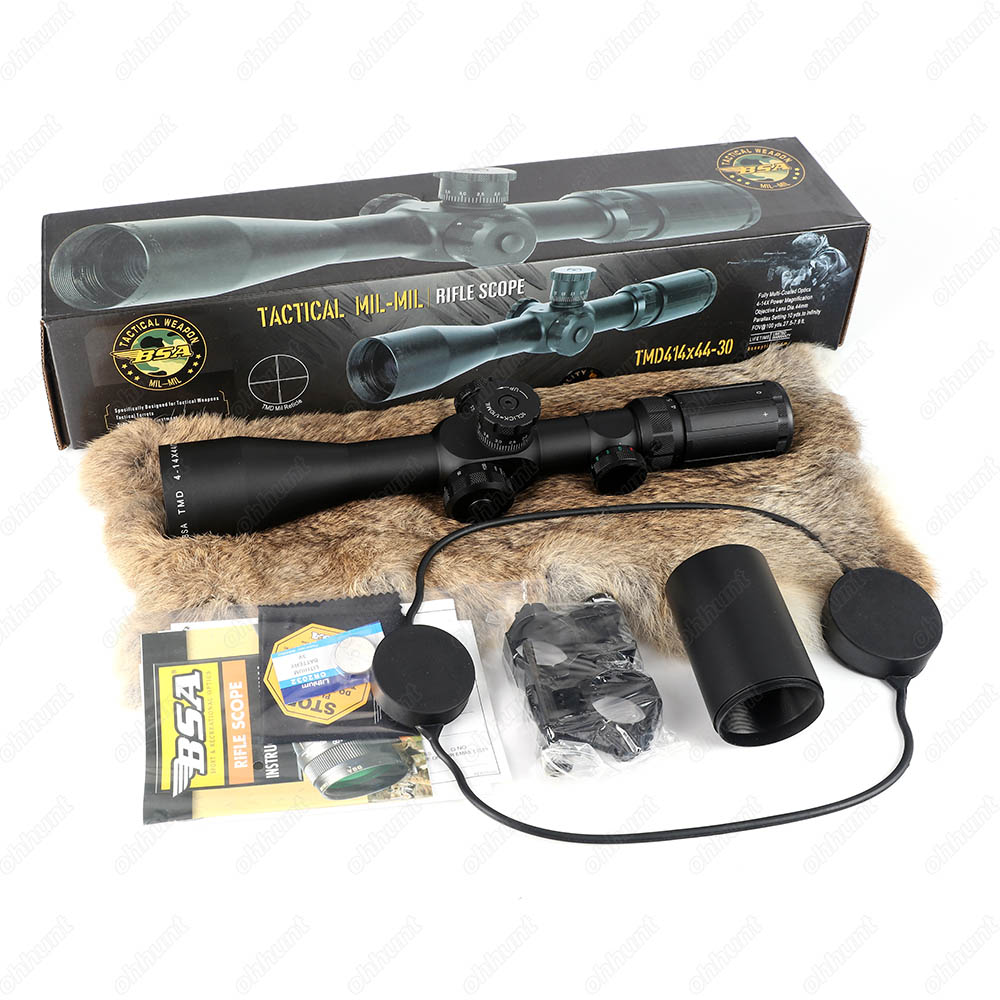 BSA TMD 4-14X44-30 IR Hunting Riflescope Side Parallax Tactical Optical Sight Red Green Reticle Illuminated Rifle Scope  (1)