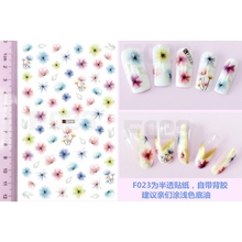 SUPER THIN SELF ADHENSIVE 3D NAIL ART NAIL SLIDER STICKER TIE INK WATER COLOR FLOWER CARONATION CHERRY BLOSSOM PETAL F023-028(China)