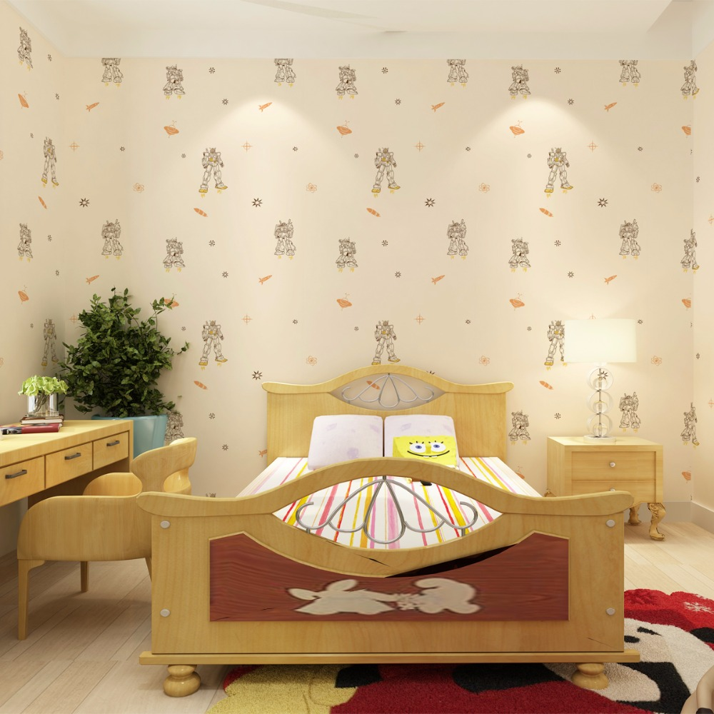Kid 's wallpaper boy bedroom nonwoven fabric material health protection cartoon deformation of King Kong Pattern murals(China (Mainland))