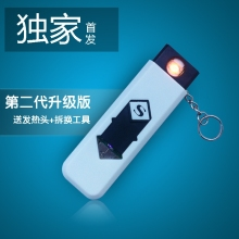 Usb flash drive personalized electronic cigarette lighter usb charge lighter windproof ultra-thin boutique lighter