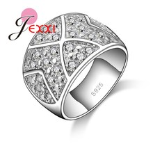 JEXXI Women Men Fashion 925 Sterling Silver Geometric Cool Design Ring With Full Shiny AAA+ Austrian Crystal Wholesale Price