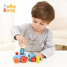 BabeRock Wooden Toys Magnetic Mini Train Set for Toddlers - Stacking(China)