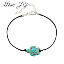 Miss JQ Fashion Brand Vintage Cut Tortoise Pendant Anklet Beach Foot Leather Chain 2017 New Design Anklets For Women Jewelry(China)