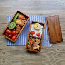 Japanese Double Deck Wood LunchBoxes Wooden Bento LunchBox Student Sushi Food Container For Food(China)