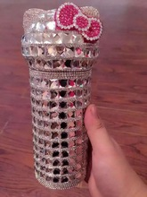 colorful rhinestone hello kitty vacuum cup with crystal handmade luxury gifts for girls
