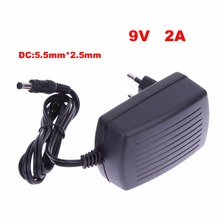 EU Plug AC 100-240V Converter Adapter DC 5.5mm x 2.5MM 9V 2A 2000mA Charger Electrical Plugs Power Adaptors