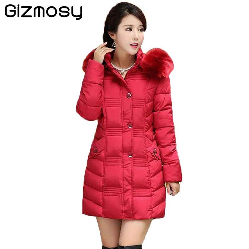 Winter Coats Women Cotton Warm Jacket Long Slim Parkas Ladies Padded Plus Size Winter Jackets Fur Collar Hooded Snow Wear BN551Îäåæäà è àêñåññóàðû<br><br>