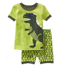 High Quality Summer Baby boys Clothes Dinosaur pattern Suit Short Sleeve T-shirt +Shorts Kids Clothing Sets pajamas k037
