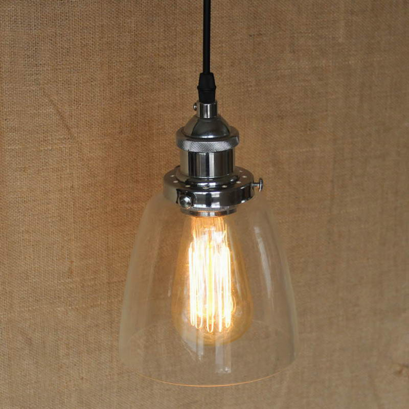 LOFT Industrial clear glass shade Pendant Lamp with Edison Light bulb for coffee shop bar dining room<br>